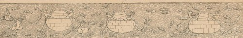 Round basket-like boat with hide covering (wall relief, Nineveh) Source: A. H. Layard, A Second Series of the Monuments of Nineveh, London, 1853, plate 12
