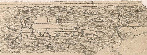 Assyrian raft made of wood and inflated skins (wall relief, Nineveh, South-West Palace, Hall VI, slab 54, reign of Sennacherib, 704–681 BCE). Source: A. H. Layard, A Second Series of the Monuments of Nineveh, London, 1853, plate 13.