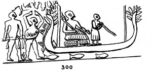 Boat with high horn-like stern and prow decorated with leaf ornaments. The boatman is armed with a long pole. (seal impression, Early Dynastic, from Ur). Source: L. Legrain, Archaic Seal-Impressions, New York, 1936 (Ur Excavations III), plate 16, 300.